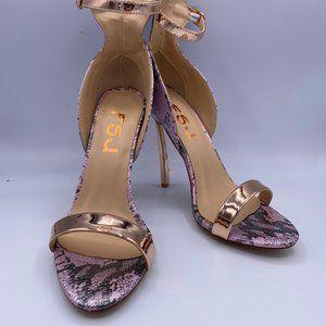 FSJ Gold Open Toe Stiletto Ankle Strap Snake Print